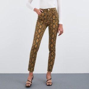 NWT Zara Hi-Rise Skinny Snakeskin Animal Jeans 26